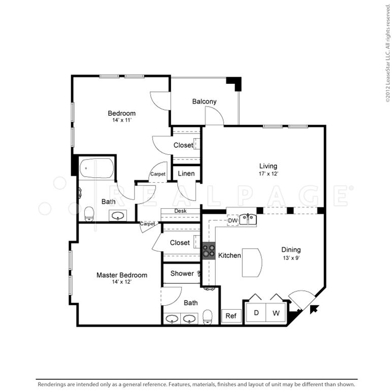 1,153 sq. ft. B2 floor plan