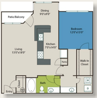 986 sq. ft. C3 floor plan