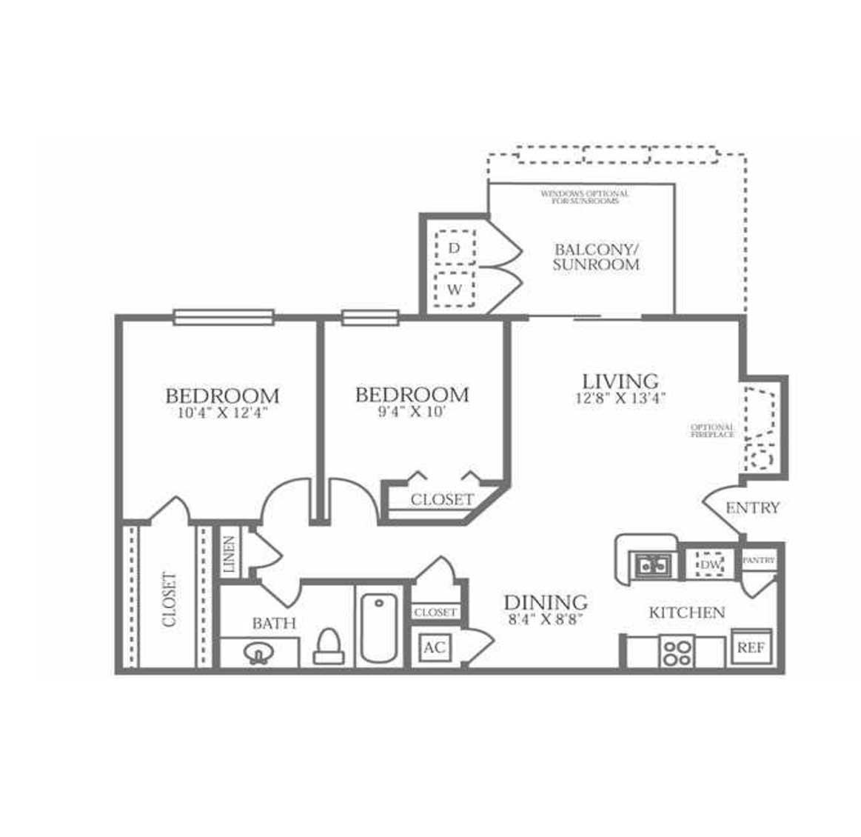 788 sq. ft. B1 floor plan