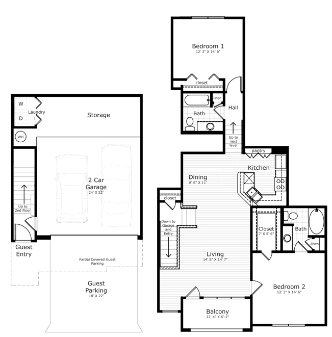1,112 sq. ft. B1 floor plan