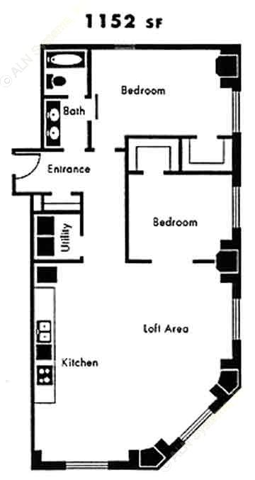 1,152 sq. ft. B11 floor plan