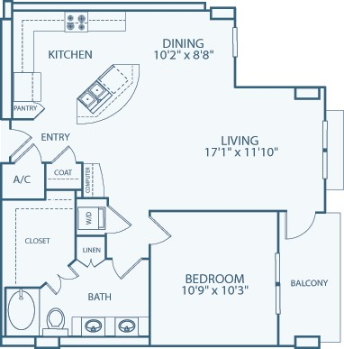 1,000 sq. ft. A13 floor plan