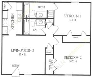 843 sq. ft. P floor plan