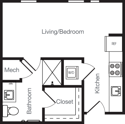 391 sq. ft. to 443 sq. ft. OD AFF floor plan