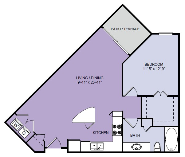 763 sq. ft. A5 floor plan