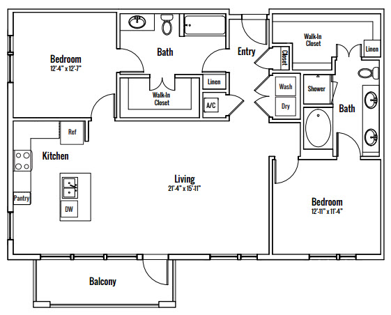 1,344 sq. ft. Zilker B2 floor plan