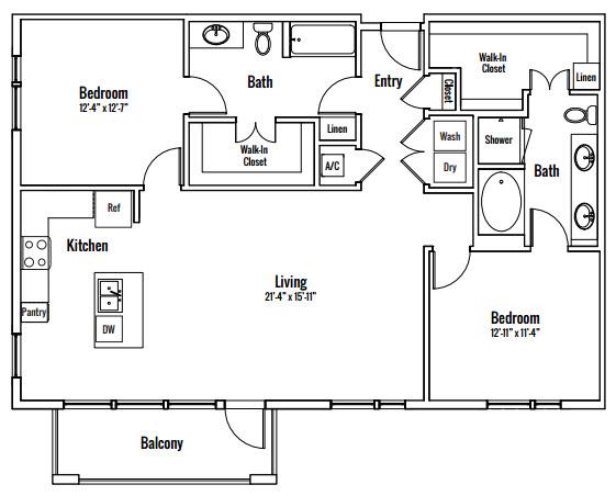 1,344 sq. ft. Zilker B2 floor plan