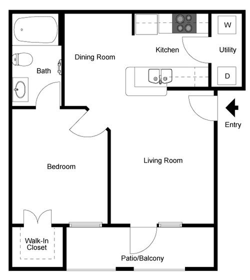 662 sq. ft. Drake floor plan