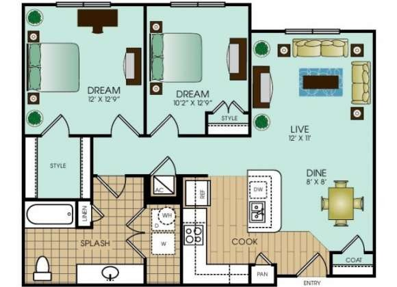 964 sq. ft. B1 floor plan