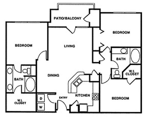 1,328 sq. ft. floor plan