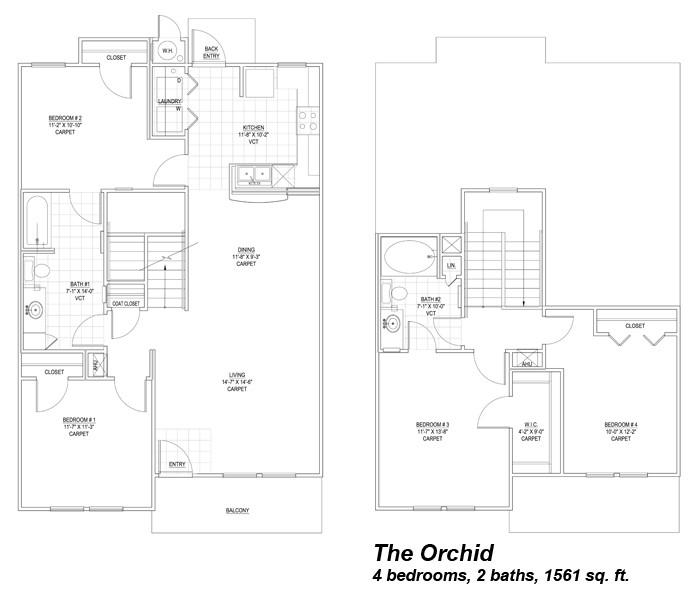 1,561 sq. ft. Orchid 50% floor plan