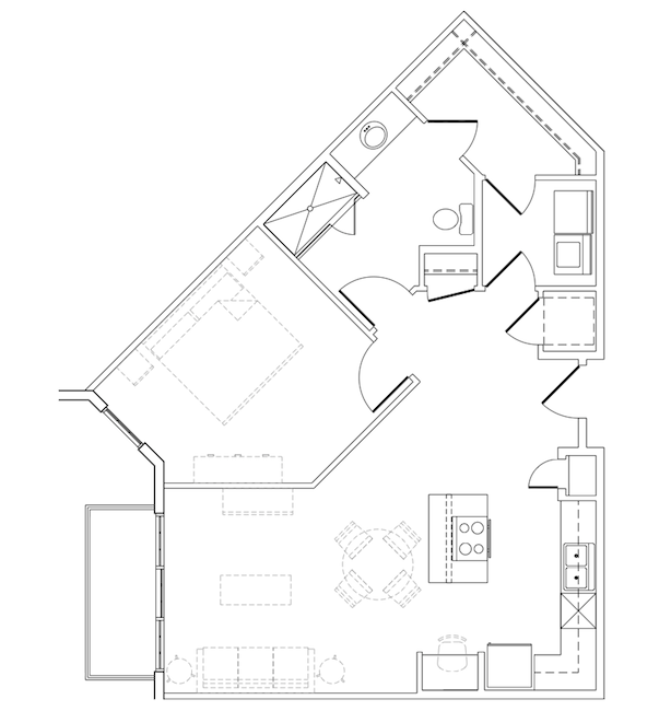 821 sq. ft. Warwick floor plan