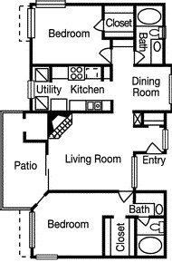 1,050 sq. ft. Highland floor plan