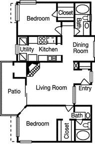 1,050 sq. ft. Highland floor plan