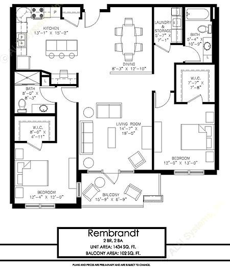 1,434 sq. ft. Rembrandt floor plan