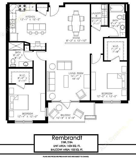 1,434 sq. ft. Rembrandt floor plan