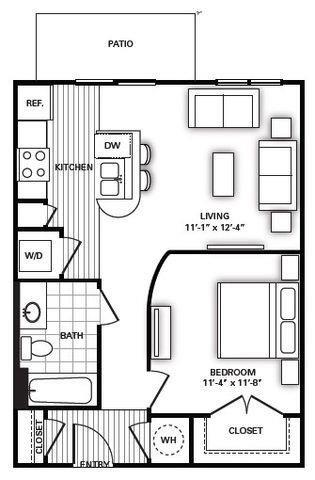 642 sq. ft. A3 floor plan