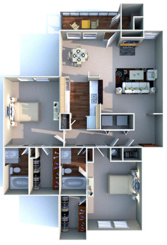 1,121 sq. ft. F floor plan