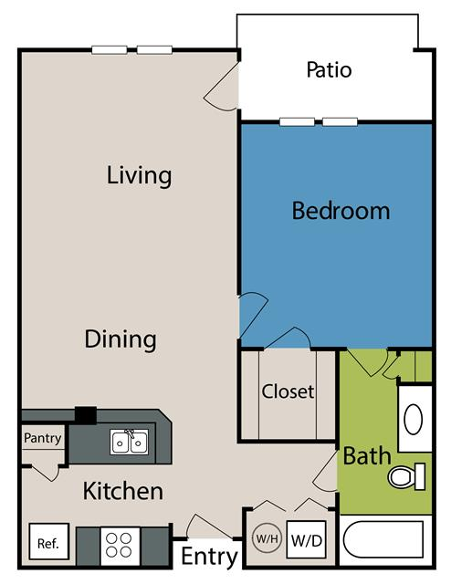 743 sq. ft. to 827 sq. ft. floor plan