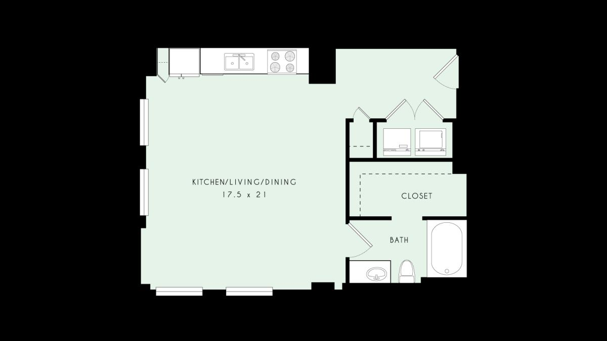 677 sq. ft. L01 80% floor plan