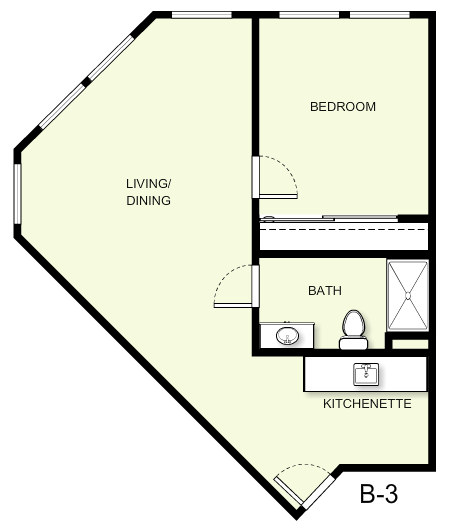 667 sq. ft. B3 floor plan