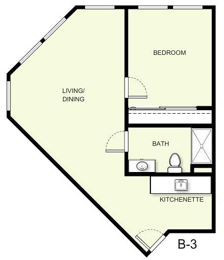667 sq. ft. B3 floor plan