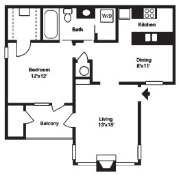 705 sq. ft. A floor plan