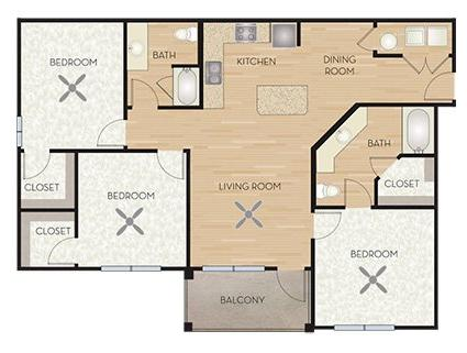1,285 sq. ft. C1/Winecup floor plan