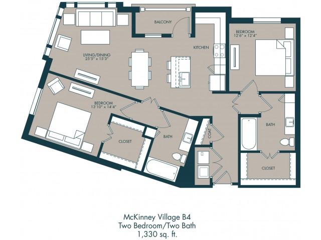 1,330 sq. ft. B4 floor plan