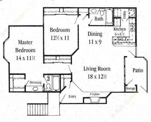1,171 sq. ft. B-3 floor plan