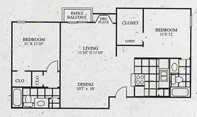 932 sq. ft. C2 floor plan