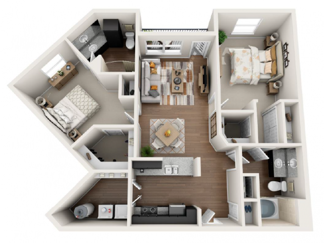 1,168 sq. ft. B floor plan