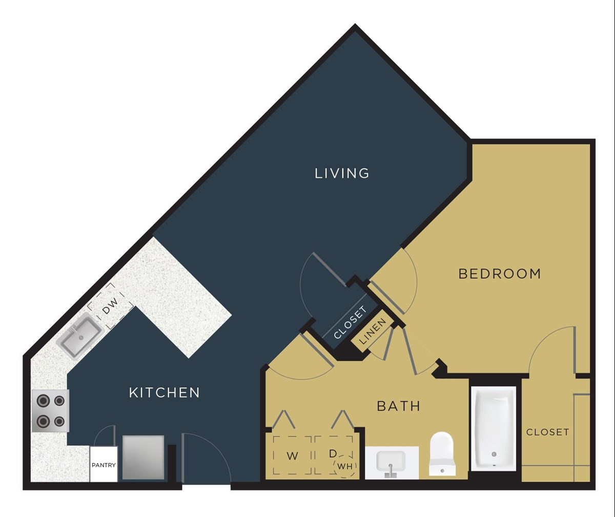 689 sq. ft. to 759 sq. ft. A3 floor plan