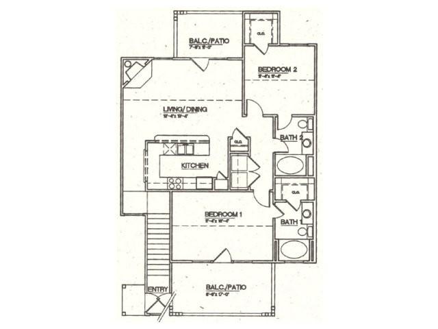 1,129 sq. ft. B5 floor plan
