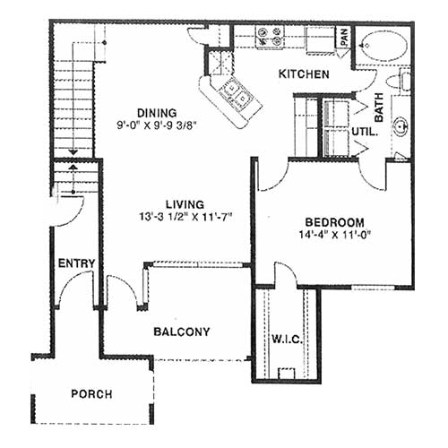 850 sq. ft. C 60% floor plan