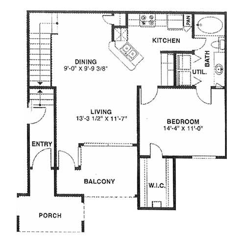 850 sq. ft. C 60% floor plan
