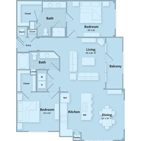 1,312 sq. ft. E floor plan