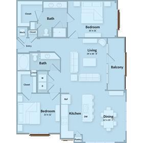 1,312 sq. ft. E floor plan