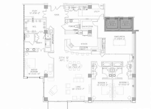 3,714 sq. ft. PH6 floor plan