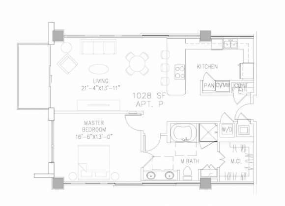 1,028 sq. ft. A3 floor plan