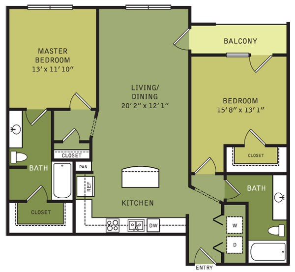 1,168 sq. ft. B6 (II) floor plan