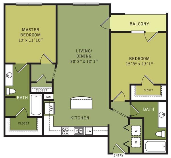 1,168 sq. ft. B6 (II) floor plan
