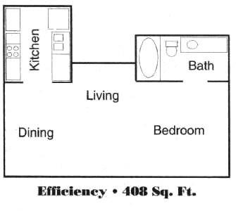 408 sq. ft. floor plan