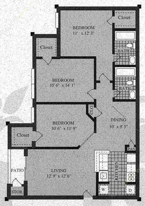 1,056 sq. ft. H-60% floor plan