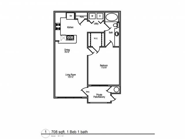 708 sq. ft. Antigua floor plan