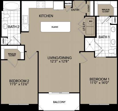 1,081 sq. ft. C floor plan