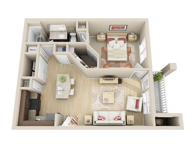 729 sq. ft. A3 floor plan