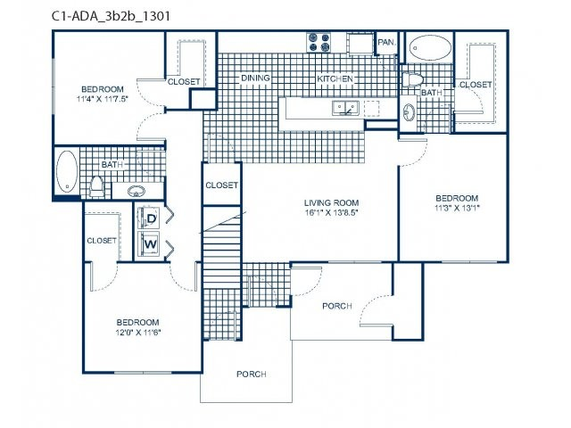 1,308 sq. ft. C1 H/C floor plan