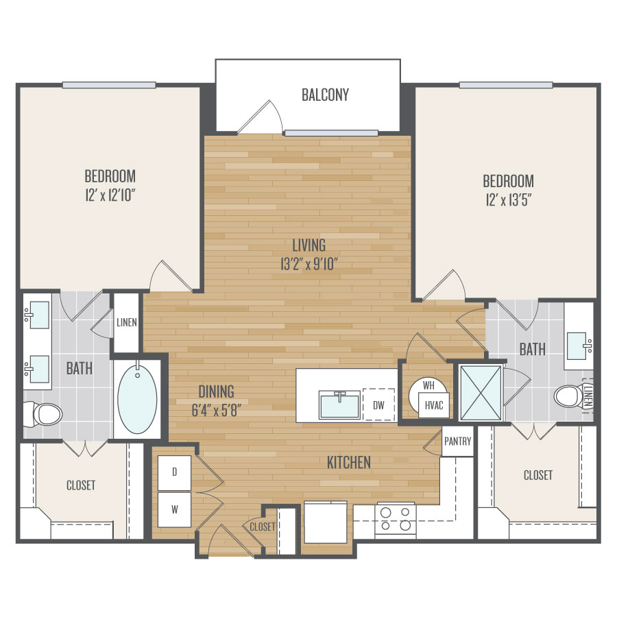1,110 sq. ft. B3 floor plan