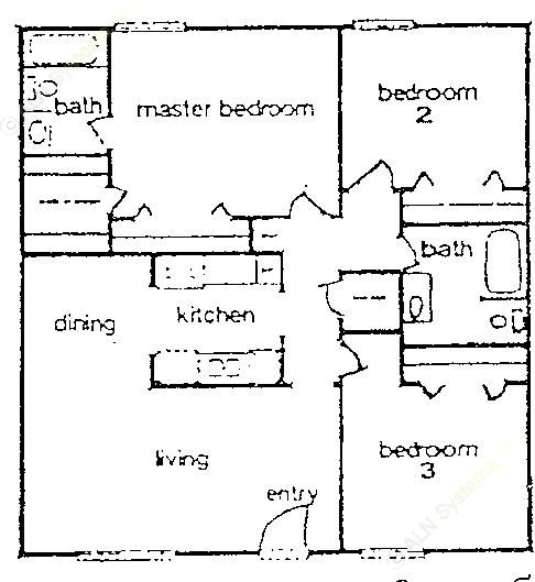 961 sq. ft. B2 floor plan